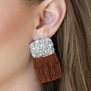 Plume Bloom brown tassel Earrings
